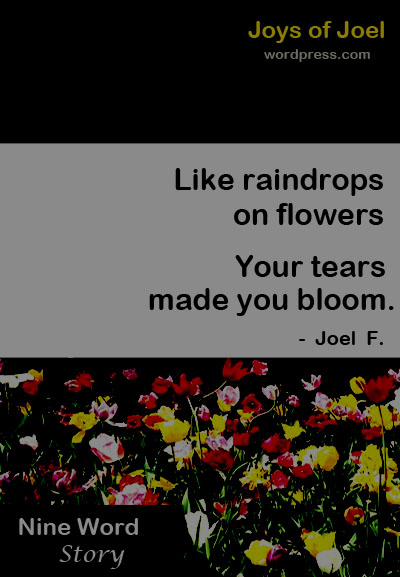 story about pain and lessons, raindrops and flowers, joys of joel writings, nine word story