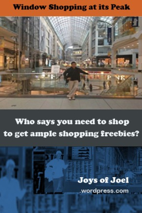 musings about window shopping, how to get shopping freebies, joys of joel writings